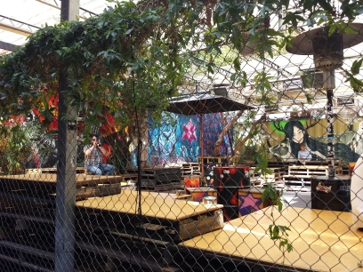 Outdoor bar with Street Art