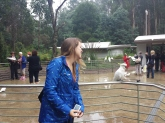 Steph making friends with the Cockatoos