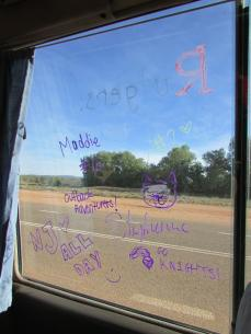 Steph and I decorate our bus window